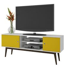 """Mid Century Modern TV Stand 59"""" (for 50"""" TV) White Yellow Wooden Legs Retro"""