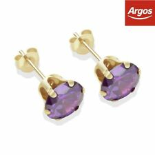 Stud Amethyst Round Yellow Gold Filled Costume Earrings