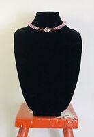 Vintage Necklace Glass Beads Pink Choker/Collar Length Fun Retro Pretty Kitsch