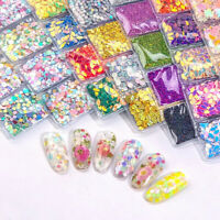 6 Pack Nail Flakes Glitter Shards Sequins Powder Decorations, Body Art - 1361