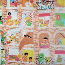 Vintage The Sesame Street Flat Bed Sheet USA Linens Crafts Fabric
