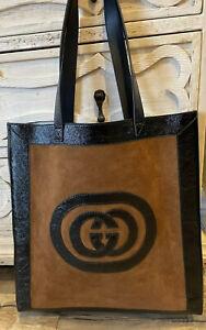 Gucci Suede Logo Appliqué Nocciola Nero Black Large Tote Bag Rare New Ophidia