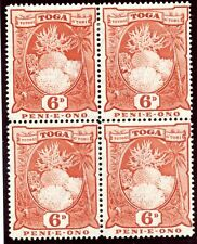 Tonga 1942 KGVI 6d red block of four MLH. SG 79. Sc 78.