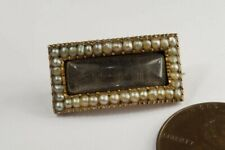 Seed Pearl Mourning Pin c1820 Antique Georgian English 9K Gold
