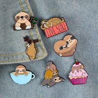 Fashion Jewelry Brooch Creative Sloth Ice Cream Coffee Cup Whimsical Cute Pin