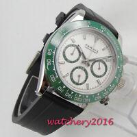 39mm PARNIS white dial sapphire glass solid full Chronograph quartz mens watch
