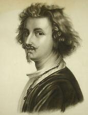 Fusain XIX siècle signé L Benoit Portrait de jeune homme aux longs cheveux 54 cm