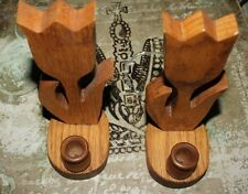 Handcrafted Wood Book End Flowers Theme suitable for Candle holders - set of 2