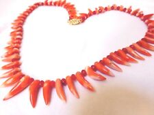 VINTAGE NATURAL MOMO CORAL RUBY BEAD NECKLACE, 14k Gold clasp