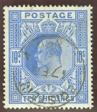 SG 319 10/- blue. Very fine used, well centred & nice deep colour CAT £600