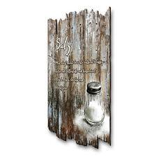 Salz Kräuter Gewürz Bild Shabby aus Holz Wand Deko für Küche 30x20cm