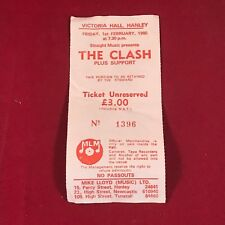 THE CLASH vintage concert ticket 1980 original stub Hanley UK Stoke-On-Trent