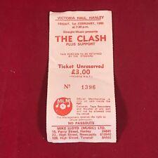 THE CLASH vintage concert ticket 1980 original stub Hanley UK Stoke-On-Trent