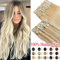 CLEARANCE Clip In Human Hair Extensions Full Head 100% Real Remy Weft Any Colors