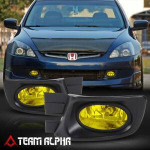 Fits 2003-2005 Honda Accord 4Dr [Yellow] Bumper Fog Light w/Switch+Harness+Bezel