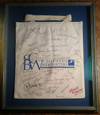 Signed Judy Blume & others Society Of Children'S Book Writers framed bookbag '91