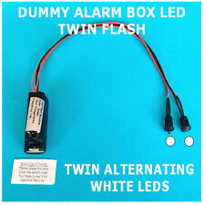 Dummy Alarm Box LEDs Twin Flashing/Alternating WHITE LED's 10 yr Battery Fitted
