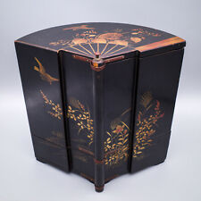 More details for antique japanese gilt lacquer fan-shaped cigar holder. meiji or taisho period