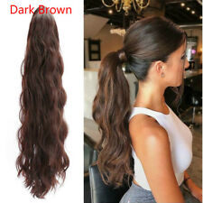 Human Hair Wavy Ponytail Hair Extension Drawstring Clip In Hairpieces Dark Brown