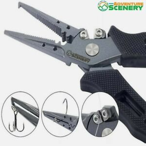 Stainless Steel Fishing Pliers Hook Removal Braid Cutters Split Ring Scissors
