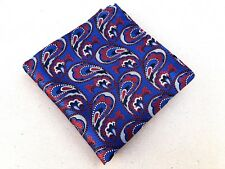 Mens  Blue Red Paisley Pocket Square Hankerchief for Wedding