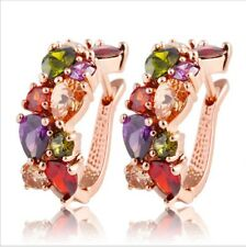 Fashion Xmas Mystic Multi-Color Morganite Gems Rose Gold Plated Stud Earrings