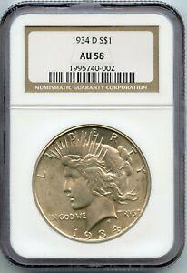1934-D $1 PEACE SILVER DOLLAR NGC AU58 (#46a 10/24 GP)