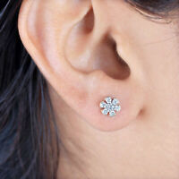 0.38 Ct Diamond Flower Shape Stud Earrings 14K Yellow Gold Wedding Fine Jewelry