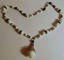 Bead Necklace 1910-20 Pendant Silvered Vint Glass Black White Czech Hand-Formed