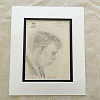 Originale Disegno Schizzo Ritratto Di Un Gentleman Vintage Mano Sfilato Firmato