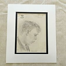 Original Drawing Sketch Portrait of a Gentleman Vintage Hand Drawn Signed 1938