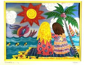 """Framed Sonia Robinson """"Sisters"""" Colorful Art Print Lithograph Signed Key West"""