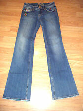 MISS ME STRETCH EMBELLISHED DISTRESSED DENIM BOOTCUT JEANS SIZE 27