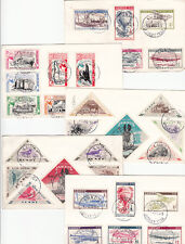 Stamps LUNDY 1955 UK group of 5 postcards different sets, QE2 stamp to Australia