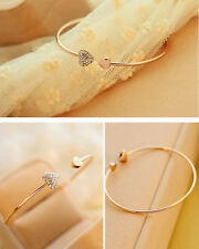 New Womens Fashion Gold Rhinestone Love Heart Bangle Cuff Bracelet Jewelry^Gift