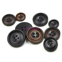 50 Pcs DIY Round Black Resin Buttons 4-Hole Sewing Scrapbooking Craft 15mm-22mm