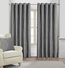 EYELET Ring Top Retro Geometric CHENILLE Velvet Touch HEAVY LINED Curtains