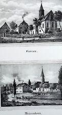 CROSSEN / WEISSENBORN (Zwickau) - Sachsens Kirchen-Galerie - Lithografie 1842