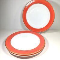 3 Vintage Pyrex Flamingo Pink Dinner Plates Coral  Red Milk Glass Gold Trim
