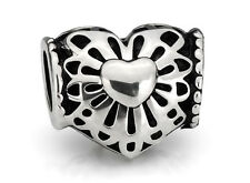Heart European Beads Silver Heart Charms Fit European Charm Bracelets