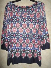 MARKS AND SPENCER PER UNA VISCOSE NAVY MIX STRETCHY TUNIC SIZE 14