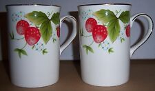Royal Canterbury Fine Bone China Cups 2 Red Strawberry Plants