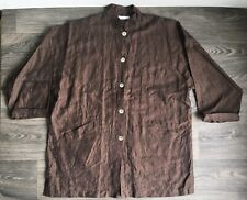 BRYN WALKER Shirt LINEN Oversize Button Front Blouse Brown Top Tunic Boxy Pocket