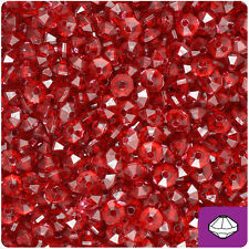 1200 Dark Ruby Red Transparent 6mm Faceted Rondelle Spacer Plastic Craft Beads