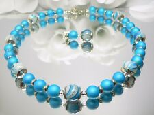 SCHMUCKSET KETTE OHRRING SPIRAL Glasperle Hellblau Blau Perlen türkis  448f