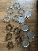Lot 11 POTTERY BARN PEWTER 5-CANDLE HOLDER ADJUSTABLE HINGED Holiday Wreaths