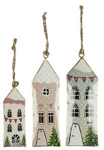 Ib Laursen 3er Set Metall Häuser bunt Hängen Advent Weihnachten Skandinavisch