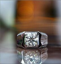 Engagement Ring 925 Sterling Silver 2Ct Round White Moissanite Man's Wedding