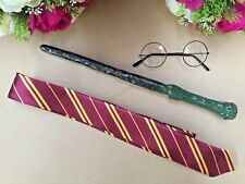 Harry Potter Glasses Gryffindor Tie Magic LED Light Up Wand Costume Cosplay KIDS