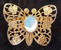 Gilt metal & moonstone vintage Art Deco antique butterfly brooch